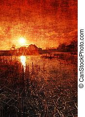 Grungy sunset - Sunset above the pond with bulrush with a...