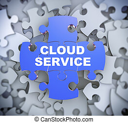 3d puzzle pieces - cloud service - 3d illustration of...