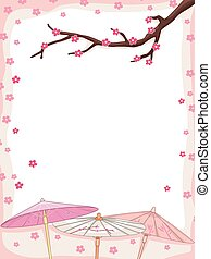 Cherry Blossoms Japanese Umbrella - Background Illustration...