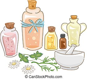 Herbal Oil - Illustration Featuring Materials for Making...