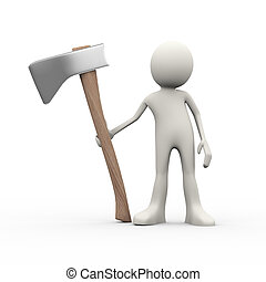 3d person with axe - 3d illustration of man holding big axe....