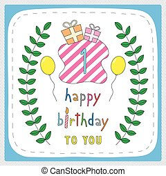 Happy birthday1 - Happy birthday card with 1st birthday and...