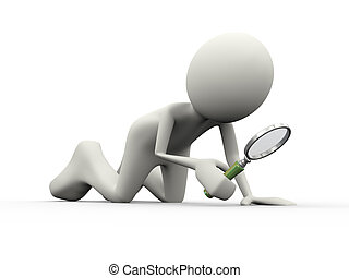 3d person searching with magnifying glass