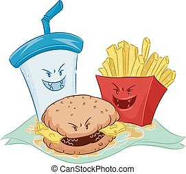 Nasty Fast Food Mascots - Mascot Illustration Featuring...