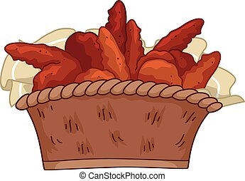 Buffalo Wings - Illustration Featuring a Basket of Buffalo...