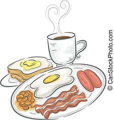 Breakfast Meal - Illustration Featuring a Full Breakfast