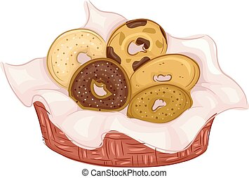 Bagels Flavors - Illustration Featuring Bagels of Different...