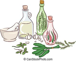 Herbs Preservation - Illustration Featuring Herbs Being Made...