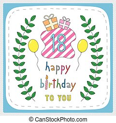 Happy birthday18 - Happy birthday card with 18th birthday...