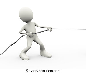 3d person pulling a rope - 3d illustration of man pulling a...