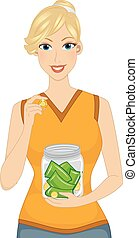 Money Jar Girl - Illustration Featuring a Woman Smiling...