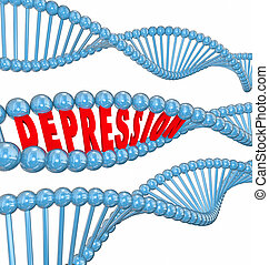 Depression Disease Mental Illness Word DNA Strand Hereditary Gen