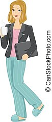 Girl Home Based Work - Illustration Featuring a Woman in...