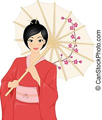 Japanese Kimono Girl - Illustration Featuring a Woman...