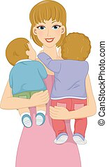 Babysitting Girl - Illustration Featuring a Female...