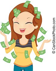 Girl Happy Money - Illustration Featuring a Smiling Happily...