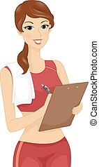 Girl Fitness Trainer - Illustration Featuring a Female...
