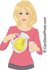 Lemonade Girl - Illustration Featuring a Woman Holding a...