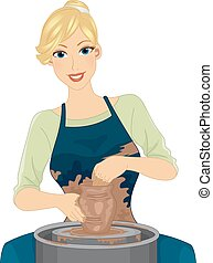 Girl Pottery - Illustration Featuring a Female Potter in an...