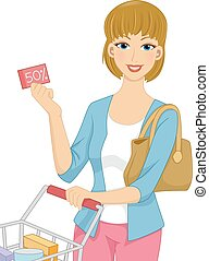 Girl Grocery Coupon - Illustration Featuring a Woman Pushing...