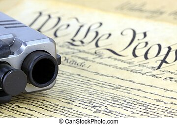 US Constitution with Hand Gun - US Constitution Bill of...