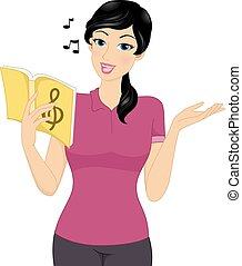 Music Teacher - Illustration Featuring a Female Music Tutor...