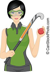 Field Hockey Player - Illustration Featuring a Female Field...