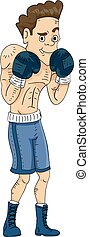 Boxing Man - Illustration Featuring a Male Boxer Displaying...