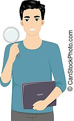 Man Web Researcher - Illustration Featuring a Male Web...