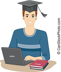 Online Course Graduate - Illustration Featuring a Man Who...