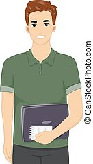 Man Blogger Writer - Illustration Featuring a Male Blogger...