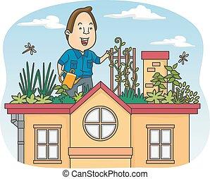 Giardino disegno Tetto : tetto, giardino