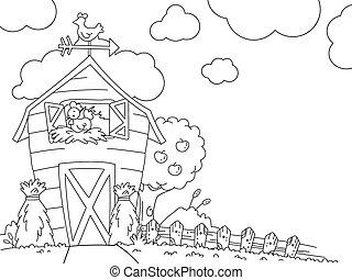 Coloring Page Barn - Illustration of a Ready to Print...