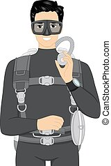 Scuba Diving Gear - Illustration of a Man in a Wetsuit...