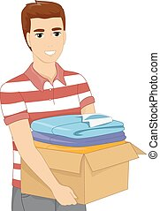 Man Carrying Box of Clothes
