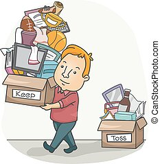 Man Organizing His Things - Illustration of a Man Sorting...