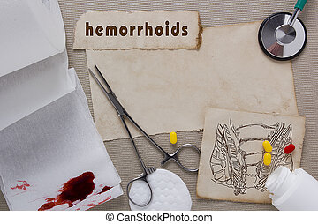 Hemorrhoids - Background with subjects associated with...