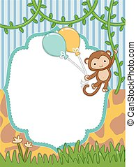 Monkey Balloons Frame