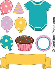 Baby Birthday Design Elements - Illustration of Different...