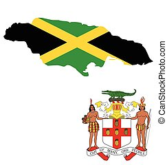 Jamaica Flag - Flag and coat of arms of Jamaica overlaid on...