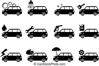 Car Service Icon Set - Vector illustration of car grooming...