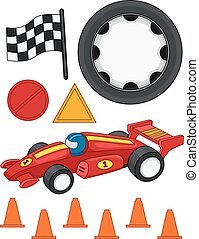 Race Car Elements - Illustration of Different Items Commonly...