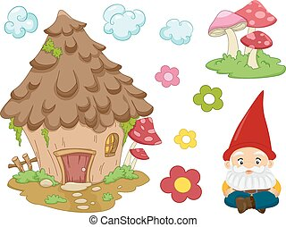 Gnome Design Elements - Illustration of Different Items...
