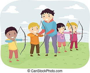 Stickman Kids Archery Lesson - Illustration of Kids Taking...