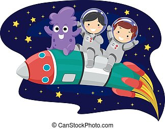 Stickman Kids Rocket - Illustration of Kids and an Alien...