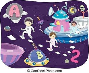 Stickman Kids Galaxy - Illustration of Kids Walking Around...