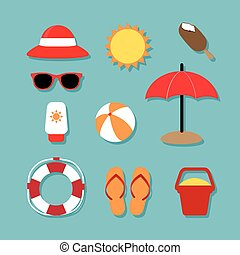 Summer Relaxing Icons Set - Summer Relaxing vector and icon...