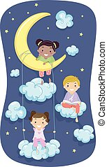 Stickman Kids Pajama Night - Illustration of Kids in Pajamas...