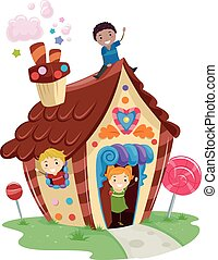 Stickman Kids Candy House - Illustration of Kids Playing in...