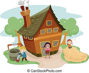 Stickman Kids Farm House - Illustration of Kids Doing...